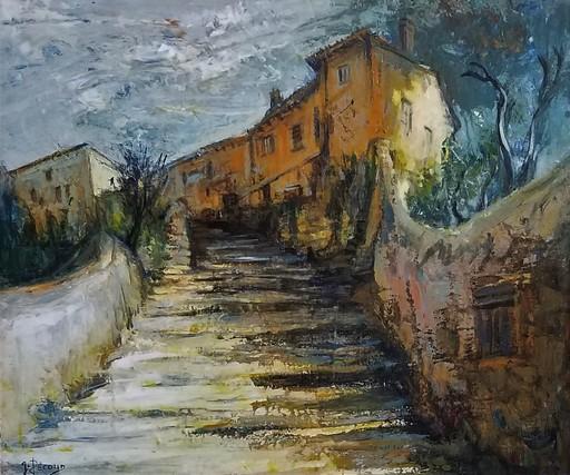 Gilbert PECOUD - Pintura - Les marches de l'île Barbe