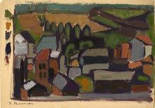 Felicia PACANOWSKA - Painting - Dorflandschaft / Paysage du village