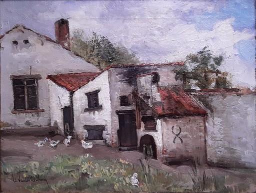 "Edouard VAN DEN PEEREBOOM - Painting - ""Le Poulailler"""