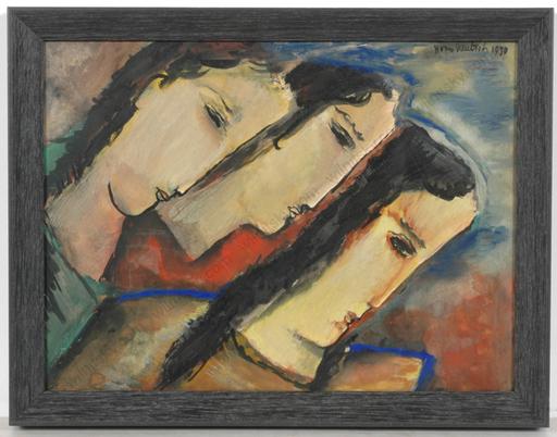 "Boris DEUTSCH - Dessin-Aquarelle - Three female heads"", watercolor"