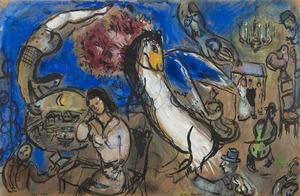 Marc CHAGALL - Disegno Acquarello - Le cheval ailé
