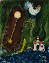 Marc CHAGALL - Estampe-Multiple - The Rooster and the Clock