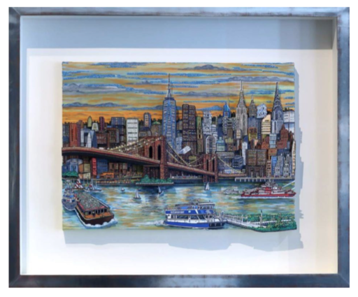 Charles FAZZINO - Gemälde - Sunset Cash Barge