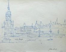 Jean DUFY - Dessin-Aquarelle - « Londres - Le pont de Westminster sur la Tamise & Big Ben »