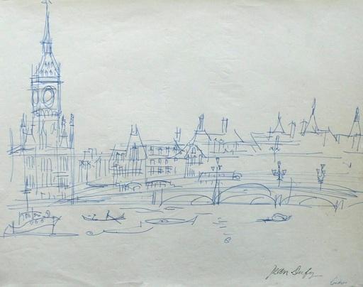 Jean DUFY - Dibujo Acuarela - « Londres - Le pont de Westminster sur la Tamise & Big Ben »