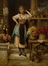 Hans ZATZKA - Painting - The Flower Vendor