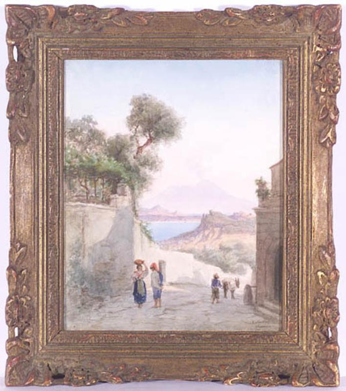 "Virginia LARSSON - Dibujo Acuarela - ""Motif of Ischia near Naples"", Watercolor, late 19th Century"