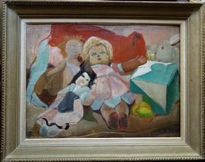 Jacqueline MARVAL - Pintura - Composition aux poupées