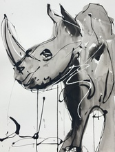Edwige COL - Drawing-Watercolor - Rhinocéros