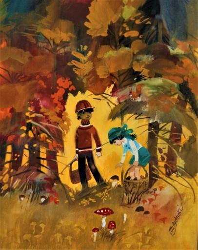 Zbigniew RYCHLICKI - 绘画 - A la recherche, cueillette de champignons