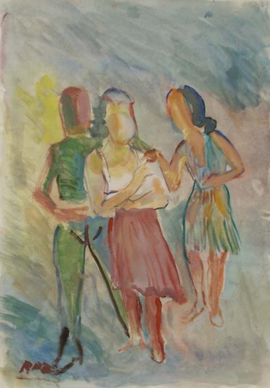 """Rudolf Raimund BALLABENE - Pittura - """"Friends"""" by Rudolf Raimund Ballabene, ca 1930"""