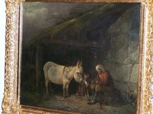 George MORLAND - Painting - Ezel in de stal