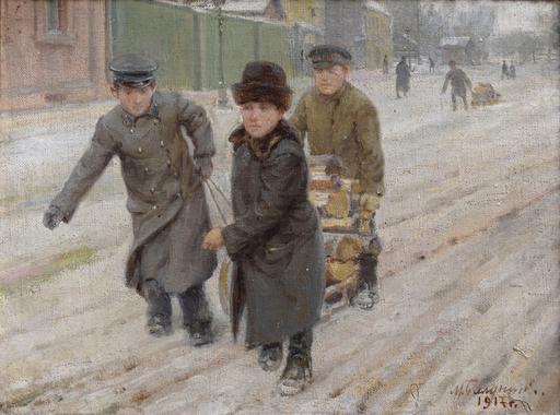 Mikhail Abramovich BALUNIN - Peinture - russian street