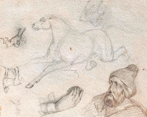 Adrien DAUZATS - Zeichnung Aquarell - Etudes de chevaux, main & (auto)Portrait Oriental
