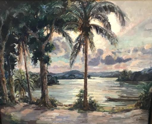 André HALLET - Peinture - Vue lac au Congo