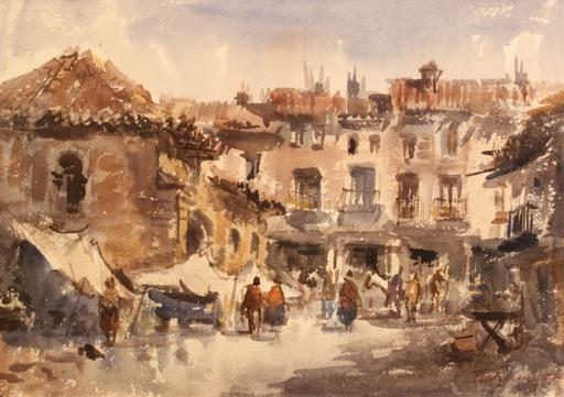 Vicente PASTOR CALPENA - Disegno Acquarello - Día de mercado