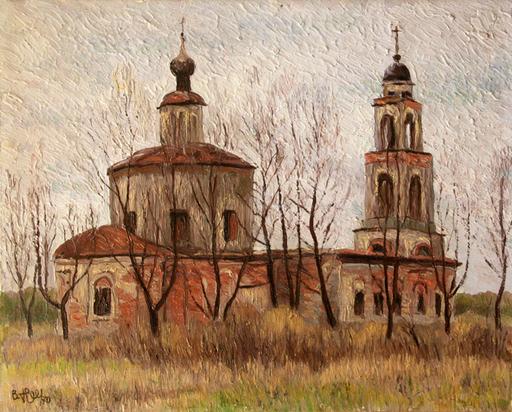 Valeriy NESTEROV - Peinture - Church in Manikhino village. Moscow region