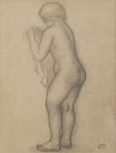 Aristide MAILLOL - Dessin-Aquarelle - Nu debout tourné vers la gauche tenant un voile