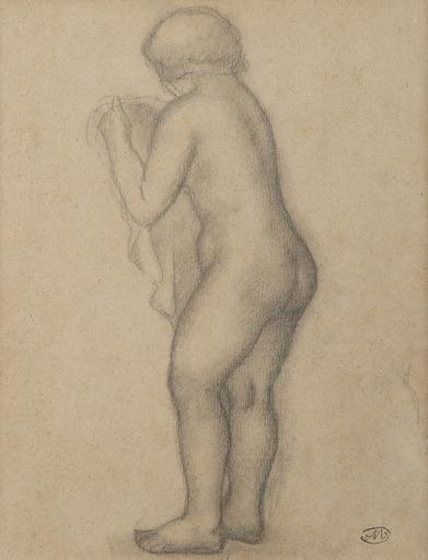 Aristide MAILLOL - Drawing-Watercolor - Nu debout tourné vers la gauche tenant un voile