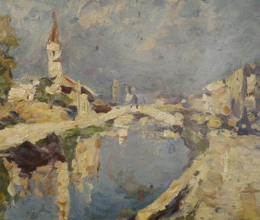 Achille CATTANEO - Gemälde - Vecchia Milano navigli