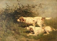 Olivier Charles DE PENNE - Peinture - Chiens de chasse à l´arret