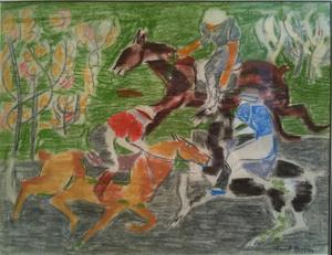 Marcel BURTIN - Dibujo Acuarela - LE MATCH DE POLO