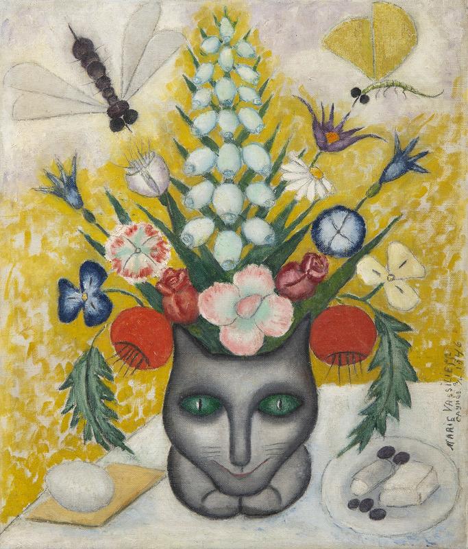 Marie VASSILIEFF - Painting - Bouquet de fleurs au chat