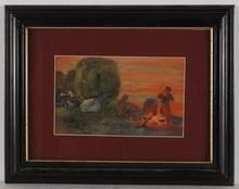 """Boris Eremeievich VLADIRMIRSKY - Dibujo Acuarela - """"Campfire"""" by Boris Vladimirsky, 1911, Watercolor"""