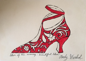 Andy WARHOL - Dibujo Acuarela - shoe perdu