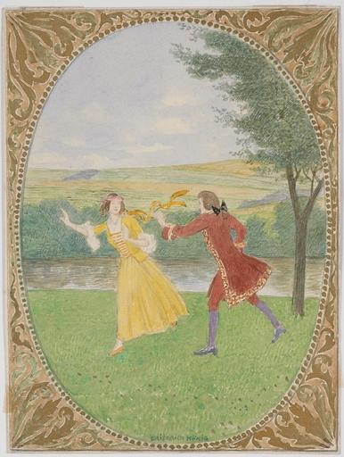 "Friedrich KÖNIG - Dessin-Aquarelle - ""Courting Scene"" by Friedrich Koenig, early 20th Century"
