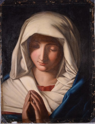 Giovanni Battista SALVI - Pintura - THE MADONNA IN PRAYER