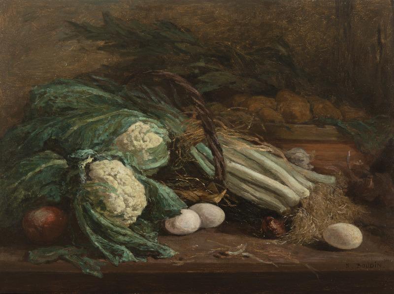 Eugène BOUDIN - Peinture - Nature morte aux légumes