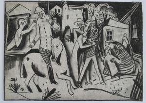 Béla KADAR - Drawing-Watercolor - Figures in a Village