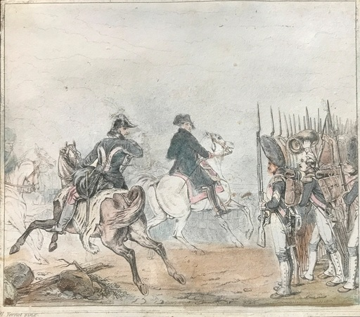 Horace VERNET - Drawing-Watercolor - Napoleon reviews the guard - Battle of Jena 14-10-1806