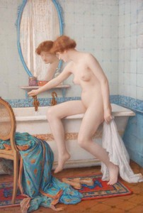 Jules SCALBERT - Dessin-Aquarelle - Jeune femme nue à la baignoire