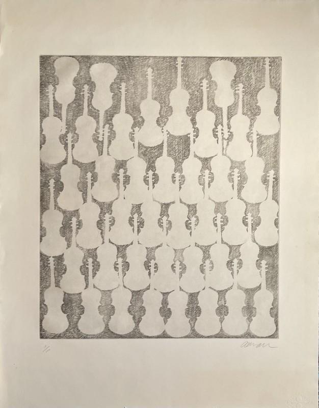 Fernandez ARMAN - Grabado - accumulation de violons