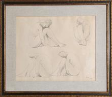 Francisco ZUÑIGA - Dibujo Acuarela - Study for Marbles
