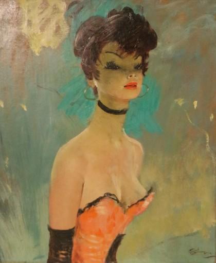 Jean Gabriel DOMERGUE - Painting - Portrait de Caroline en buste