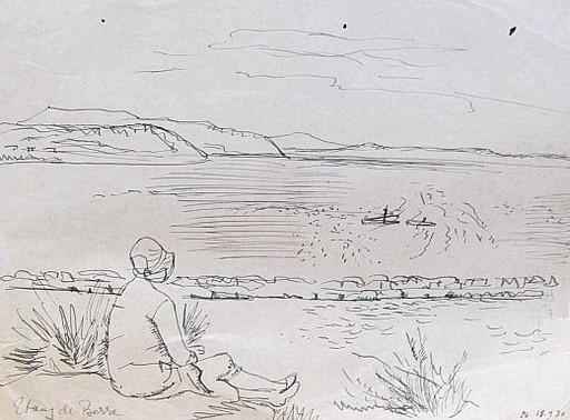 Erich HARTMANN - Disegno Acquarello - #19874: Etang de Berre.