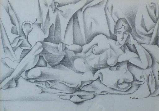 André LHOTE - Drawing-Watercolor - Nu allongé