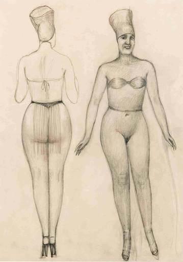 阿尔方斯·瓦尔德 - 水彩作品 - Leicht bekleidete Dame