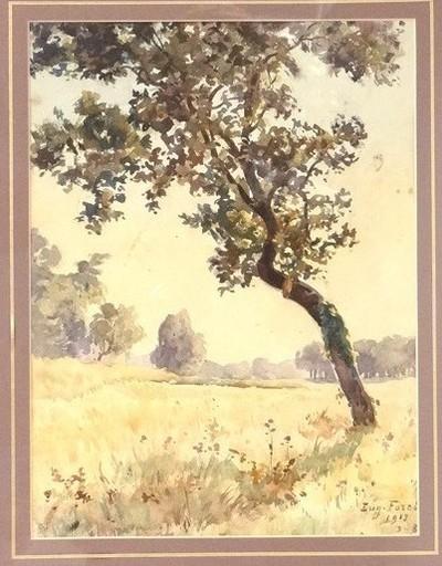 Eugène FOREL - Dibujo Acuarela - Paysage au Thil Gironde