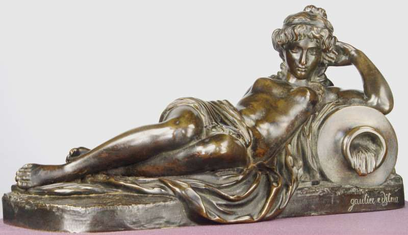 Jean-Baptiste CLÉSINGER - Skulptur Volumen - Reclining Nude With Amphora