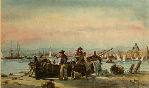 Émile HENRY - Disegno Acquarello - MARINE