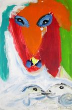 Menashe KADISHMAN - Painting - Head and Sheep