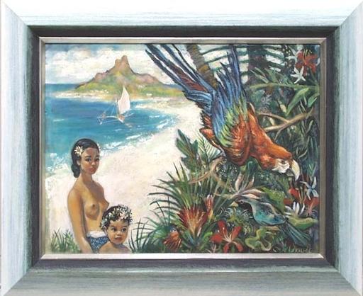 """Joseph KALFEL - Peinture - """"Island Innocence"""", Oil Painting, 1940's"""