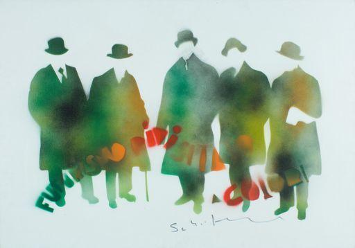 Mario SCHIFANO - Pintura - Senza titolo (Futurismo rivisitato a colori)