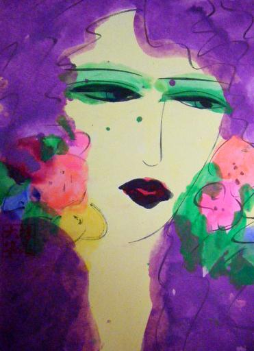 TING Walasse - Painting - Lady Purple