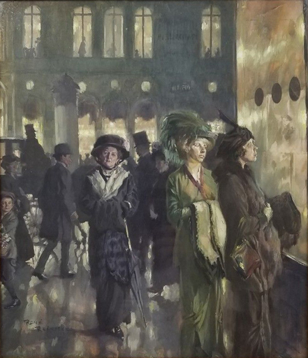 René REINICKE - Disegno Acquarello - Munich by Night, Gouache 1903
