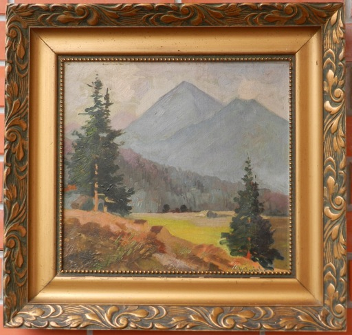 Karol SOVANKA - Painting - View of the Mountains
